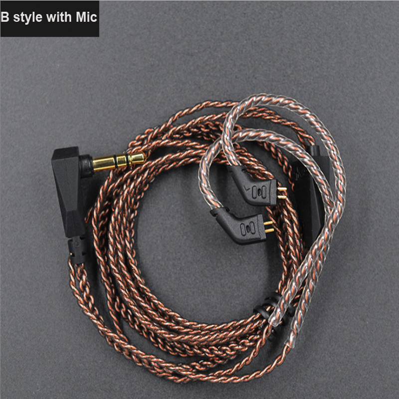 Newest Original KZ earphone accessories Cable Upgrade Silver Plated OFC 0.75mm For Earphones KZ-ZS6/ZST/ZSR/ZS10