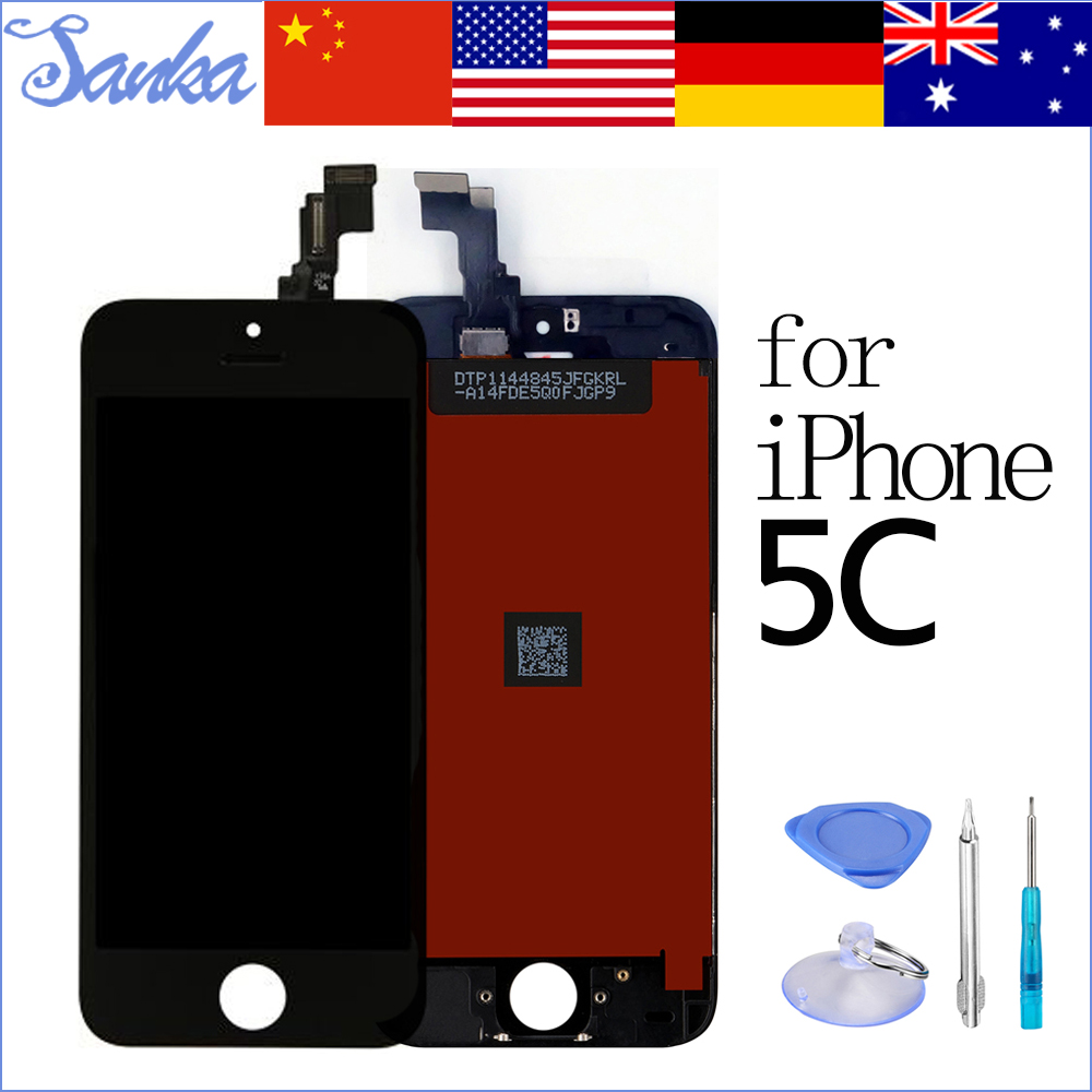 SANKA LCD AAA Replacement for iPhone 5C LCD Touch Screen Display Digitizer Front Glass Ecran Pantalla LCD Assembly Black