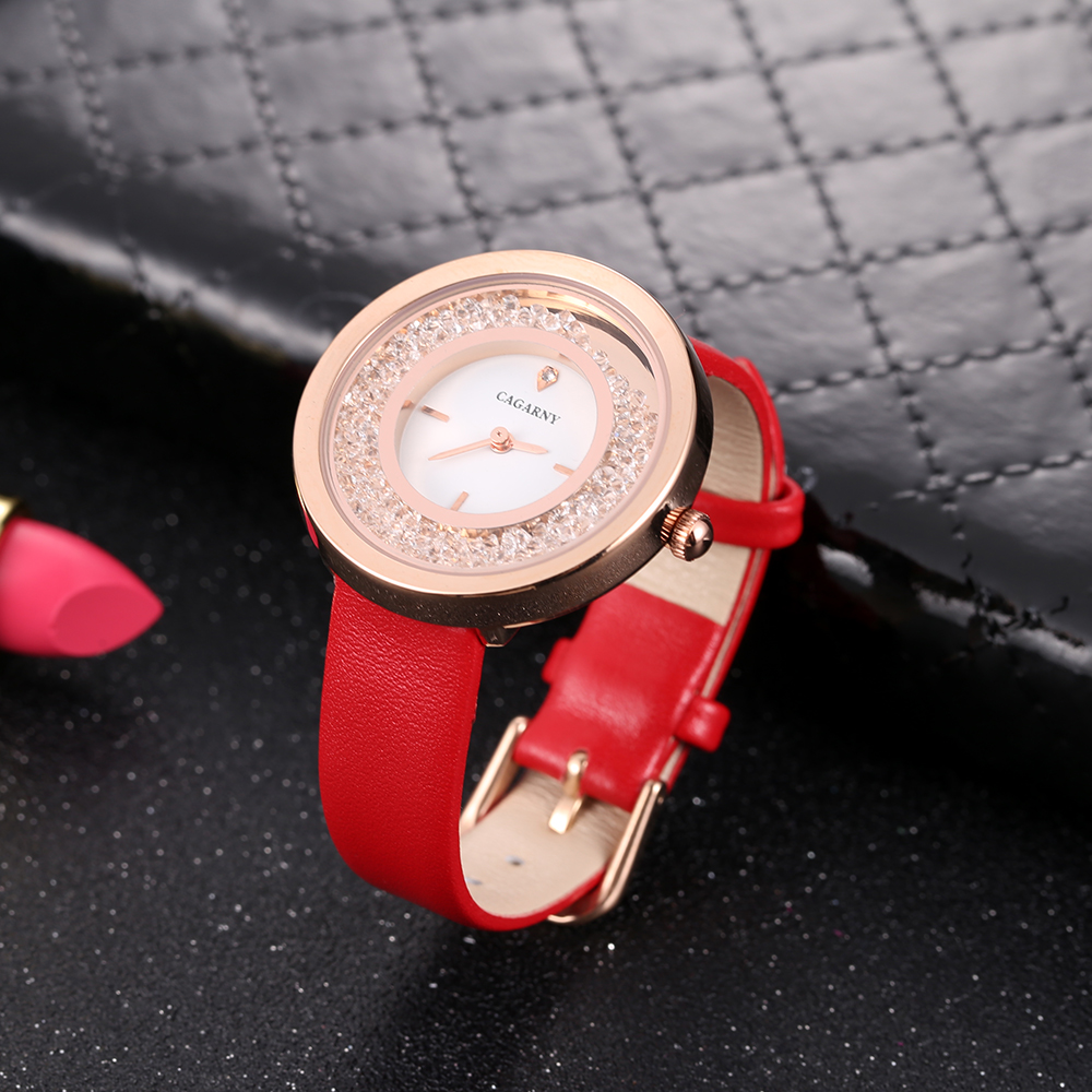 luxury brand quartz watch for women fashion ladies wristwatches rose gold case vogue leather strap with crystal free shipping (14)