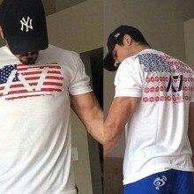 Мужские футболки для бега с принтом, топ для фитнеса, многоцветная Приталенная футболка, летняя пляжная спортивная одежда, футболки