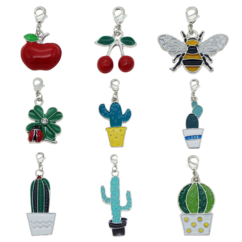 Julie Wang 4PCS Enamel Bee Apple Cactus Cherry Keychains Alloy Lobster Buckle Clasp Charms Key Chains Handmade Jewelry