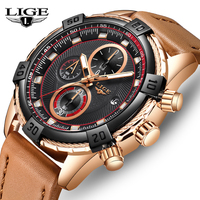 LIGE Fashion Business Men's Watch Top Brand Luxury Leather Casual Military Waterproof Watch Men's Timely Code Table Quartz clock