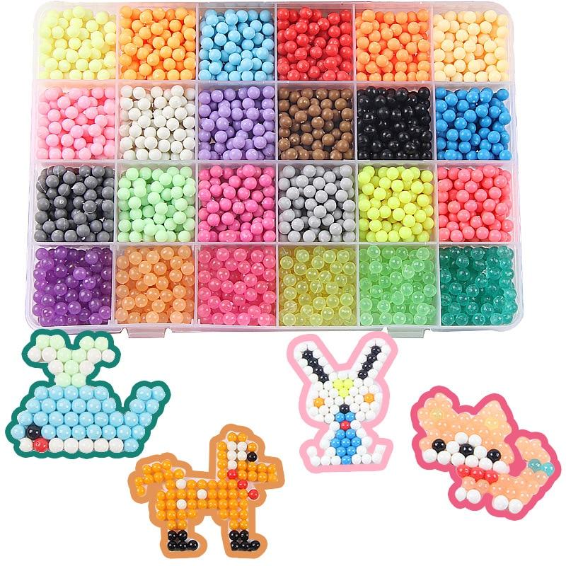 Nueva 24 colores DIY agua magia aerosol Aqua Beads mano haciendo 3D aguamarinas rompecabezas juguetes educativos para niños bola Kit juego W001