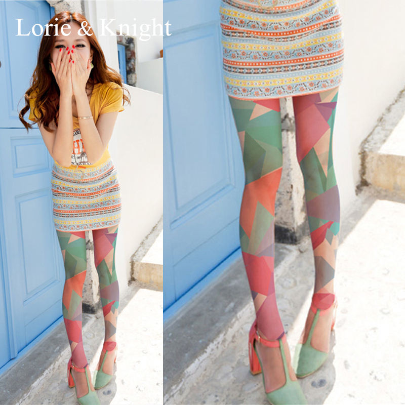 Summer Fashion Tights Stockings Colorful Triangle Patterned Pantyhose Tight