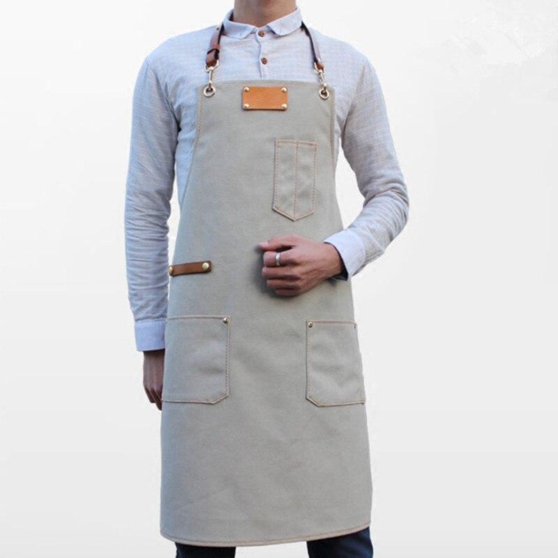 Szary fartuch płócienny skóry wołowej skórzany pasek Barista barman grill ciasto szefa kuchni kelnerzy jednolite fryzjer kwiaciarnia malarz pracy nosić B50 w Fartuchy od Dom i ogród na  Grupa 2