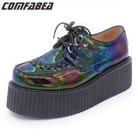 Spring Autumn Shoes 2018 Women Genuine Leather Creepers Women's ladies High Platform Shoes Punk Hologram Blue Creepers Footwear