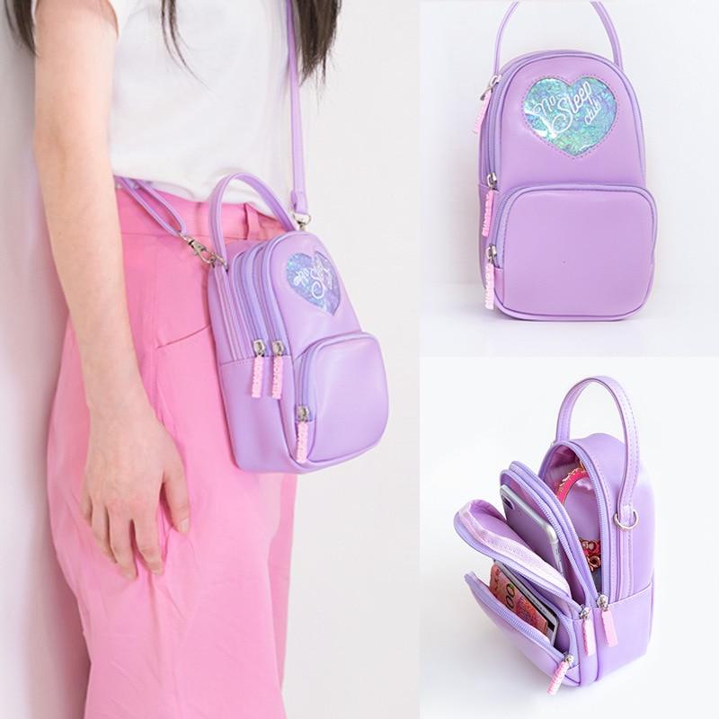 Fashion Girls Pink Messenger Bag Women Small Strap Leather Crossbody Shoulder Bag Female Zipper Cell Phone Purse Handbags