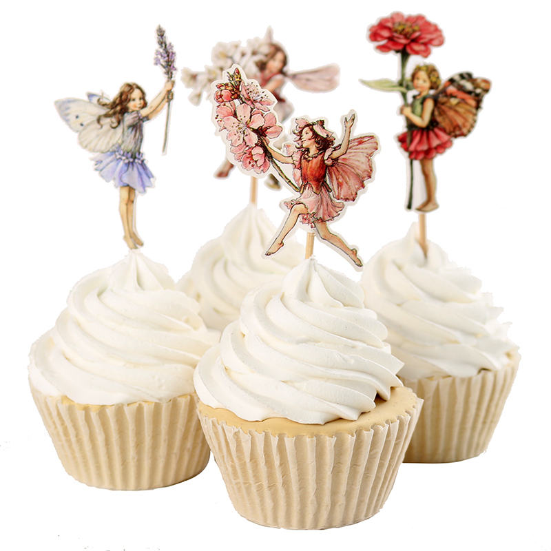 24pcs Flower Fairy Paperboard Cupcake Topper Decoration Angel Theme Party Decor Girl Cake Banner