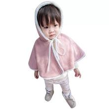 Baby girls winter autumn warm velvet cloak Korean newborn childrens Cape baby shawl