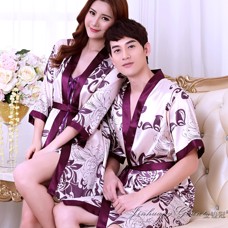 Summer sexy lovers silk robe couple thin short sleeved bathrobe male ladies pajamas men's women's silk pajama sleepwear