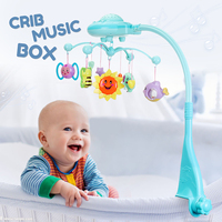 Baby Bed Bell Toys Holder Arm Bracket Mobile Kids Cot Toy Stars Light Mobile Musical Cot Crib Rotary Music Box Projection Toy