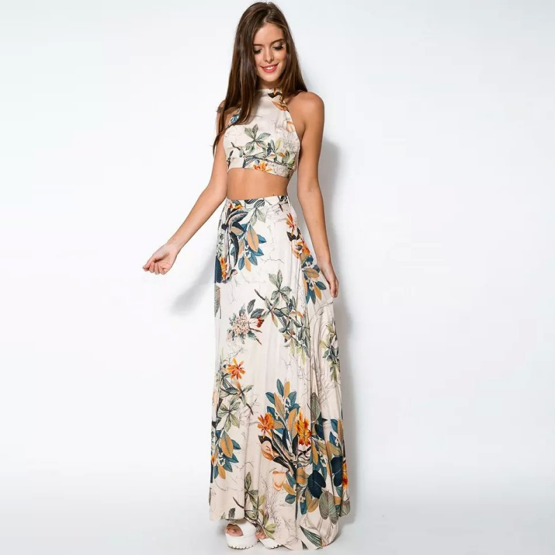 Hot Summer Women Sexy Print Top and Long Skirts Set Party Maxi Formal Club Clothes sets H34