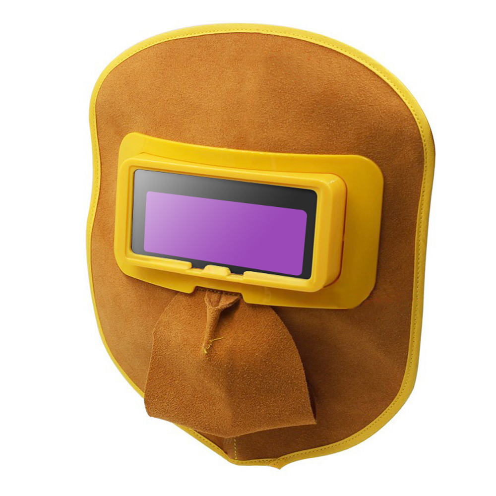 Welding Eyes Mask Helmet Welder Goggles Protable Leather Mask with Solar Power Auto Darkening Filter Lens Hood