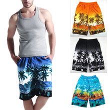 2018 Summer Mens Beach Shorts Printed Coconut Palm Tree Casual Board Shorts Swimwear Elastic Waist Quick Dry Short Boxers Y1296(China)