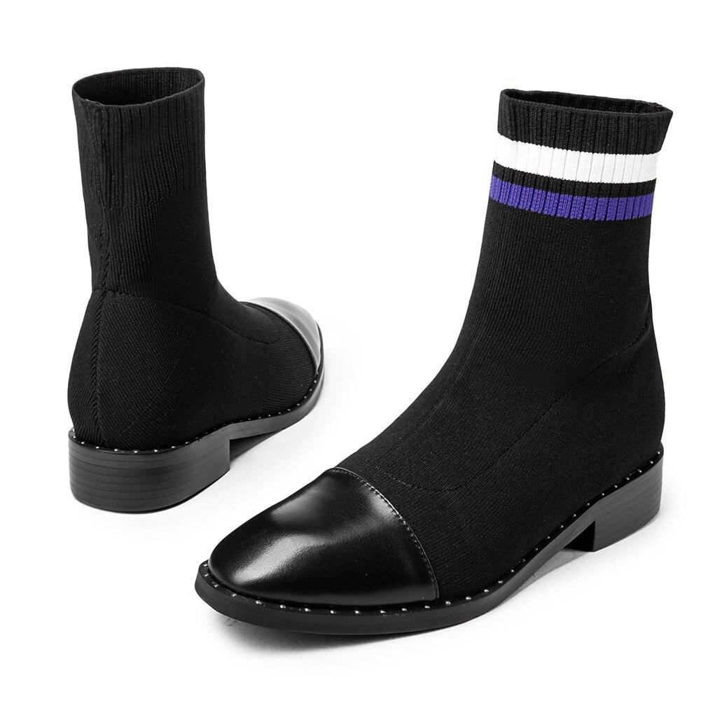 Bonjomarisa Chaussons Noir 32 Chaussette Talons Véritable En Femmes bleu Grande Chaussures Cuir Marque Faible Cheville Pour 43 Nouveauté Femme Automne 2019 Taille rrRqX