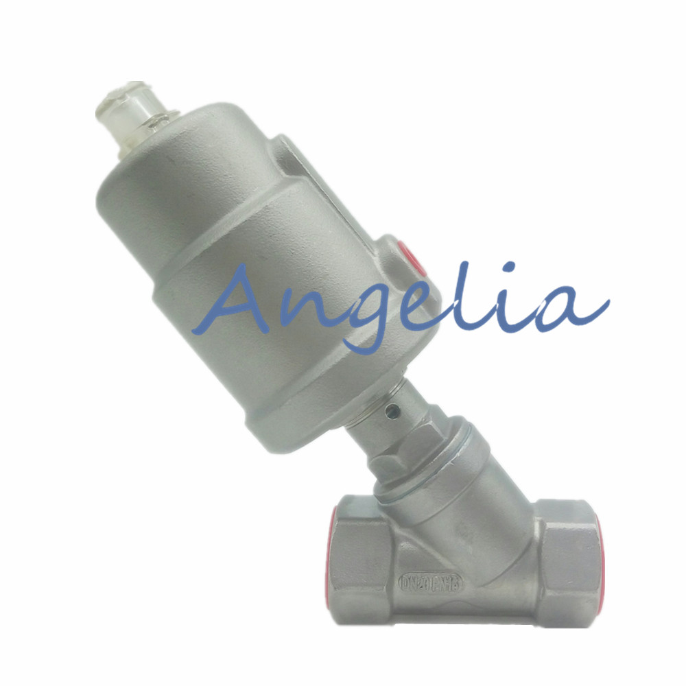 1 NPT Thread Stainless Steel 304 Normally Closed Single Acting Air Actuated Angle Seat Valve NC u s solid 1 stainless steel electric solenoid valve 110v ac npt thread normally closed water air diesel iso certified