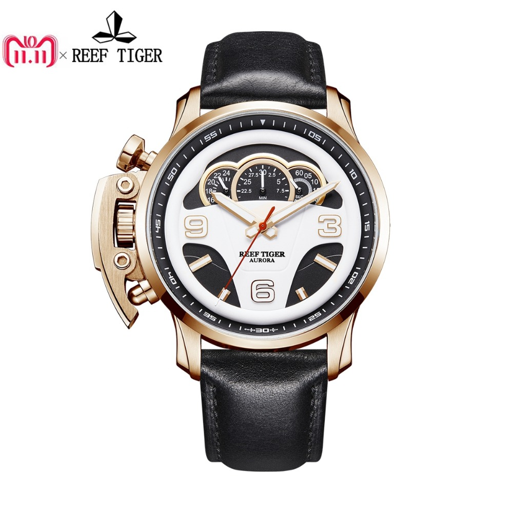2018 Reef Tiger/RT Mens Fashion Sport Watches Genuine Leather Strap Dashboard Dial Chronograph Stop Watches RGA2105