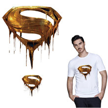 superman golden logo patches for clothing thermal stickers on clothes iron transfer t-shirt diy patch badge parches ropa