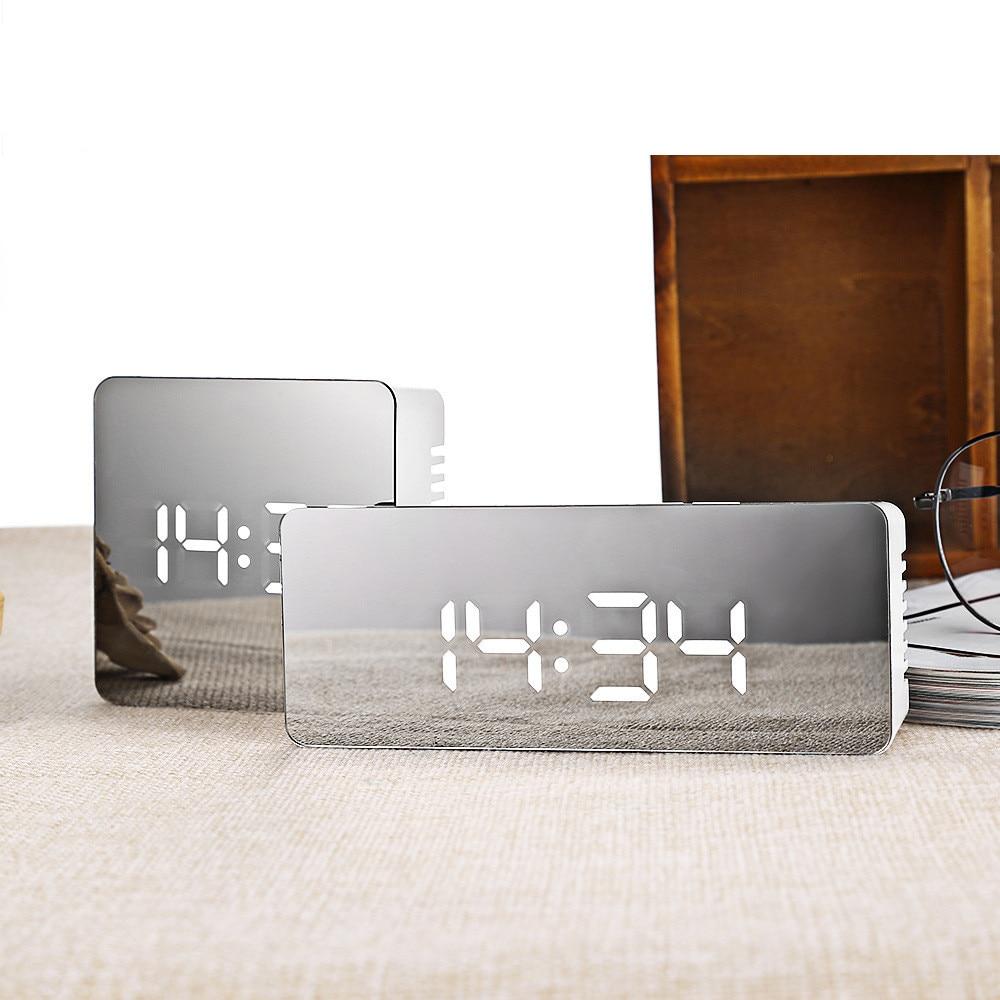 Horloge De Bureau Originale details about led miroir réveil numérique snooze horloge de table réveil  lumière électronique
