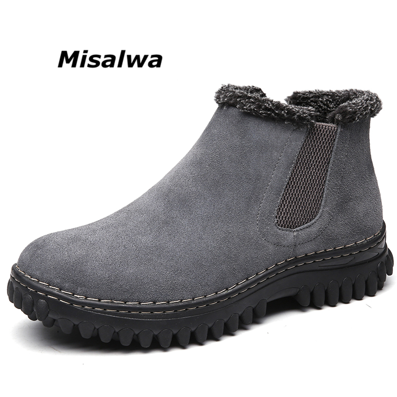 Misalwa Men's Black Grey Suede Leather Boots Slip-on Woollen Plush Warm Winter Snow Ankle Elastic Short Boots Shoes