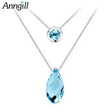 ANNGILL Water-drop Crystals from Swarovski Necklace Chain Alloy Statement New Collar Choker Necklace for Women Boho Jewelry(China)