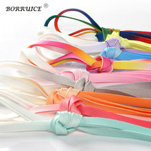 Fashion Gradient Colorful Shoelaces High Quality Polyester Off White Shoe Lace Solid Flat Shoelace Zapatillas Mujer Hombre(China)