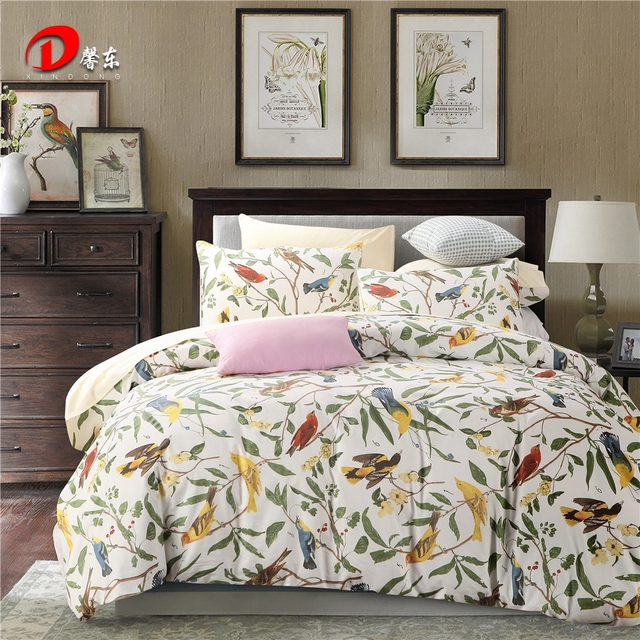 Birds Leaf Satin Bed Set Luxury Egyptian Cotton Bedding King Queen Size High Quality White Linen Duvet Cover Z4