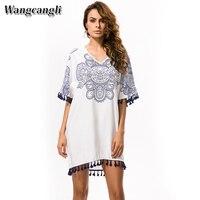 Wangcangli Europe And America New Blue And White V Neck Porcelain Totem Printing Tassel Large Size