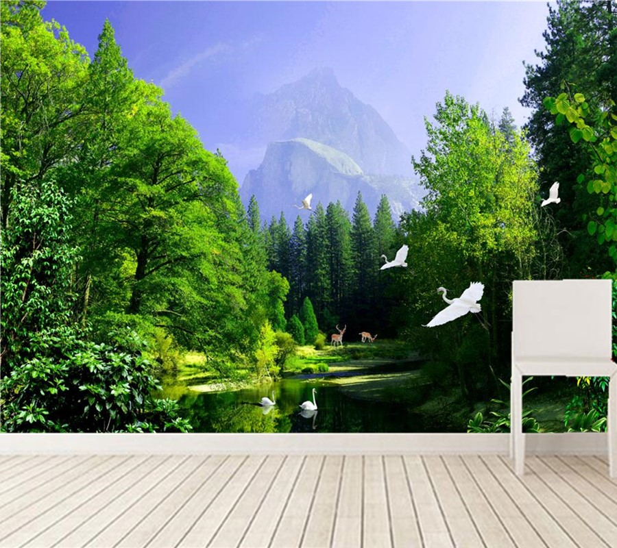 Custom photo mural wallpaper,The picturesque Forest  Lake swan deer 3d wallpaper, living room TV wall bedroom papel de parede 3d wallpaper custom photo hd mural flowers deer forest tv sofa bedroom ktv hotel living room children room