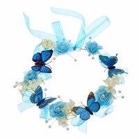 Wedding Bridal Hair Flower Crowns Handmade Pearl Flower Wreath Woman Girls Butterfly Flower Garland Headbands Hair
