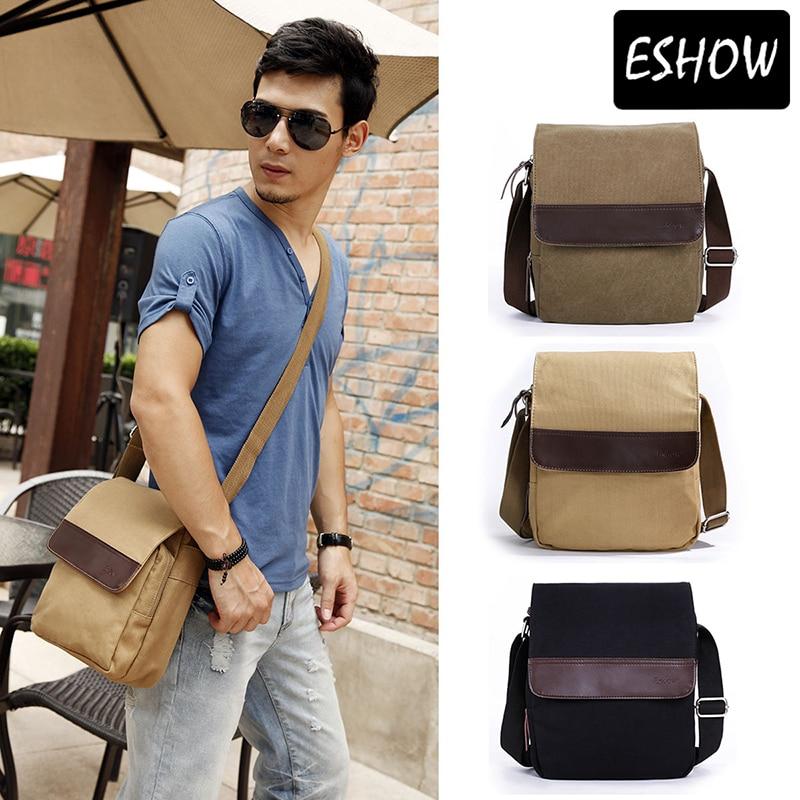 Eshow Men s Messenger Bags Black Brown Khaki Male Man Bag Men Vintage Small Canvas  Shoulder Bag Cross body Bags Bolsa BFK010401 1441013fc82ba