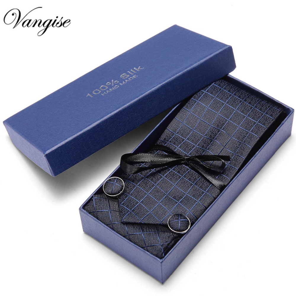 Gift Box 2019 New 7.5cm Mens Tie 100% Silk Vangise 35 Colors Paisley Ties For Men Wedding Business Style Dropshipping Tie Set
