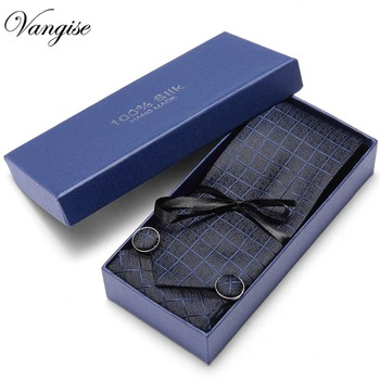 Gift box 2020 New 7.5cm Mens Tie 100% Silk Vangise 35 Colors Paisley Ties For Men Wedding Business Style Dropshipping Tie Set new brand paisley tie set 100