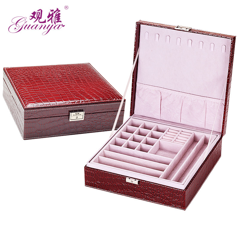 Guanya Jewelry Organizer Women Claret Crocodile Sector Automatic Gift Jewelry Box Display Organizer Carrying Case Boxes