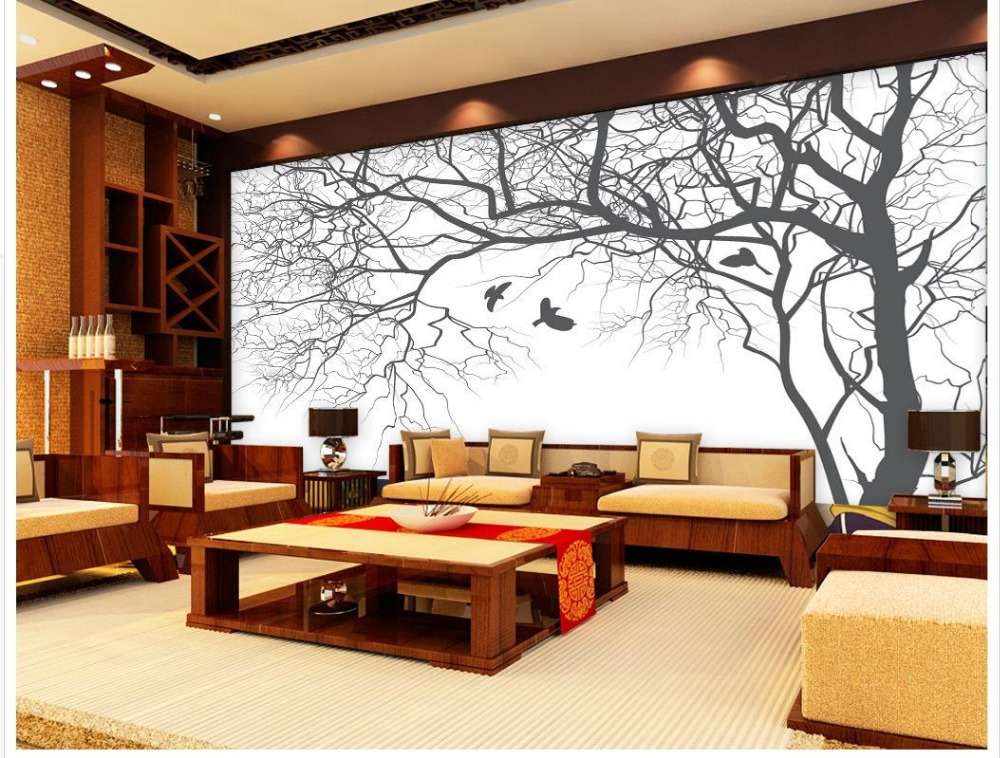 Living room TV backdrop bedroom 3d photo wallpaper Abstract black and white tree Mural 3d wallpaper Home Decoration  free shipping england wind red white blue fashion backdrop tv backdrop bedroom living room mural wallpaper