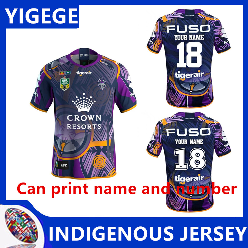 b8a4a483a96 YIGEGE MELBOURNE STORMS 2018 INDIGENOUS JERSEY 2018 melbourne away rugby  Jerseys NRL National Rugby League shirt
