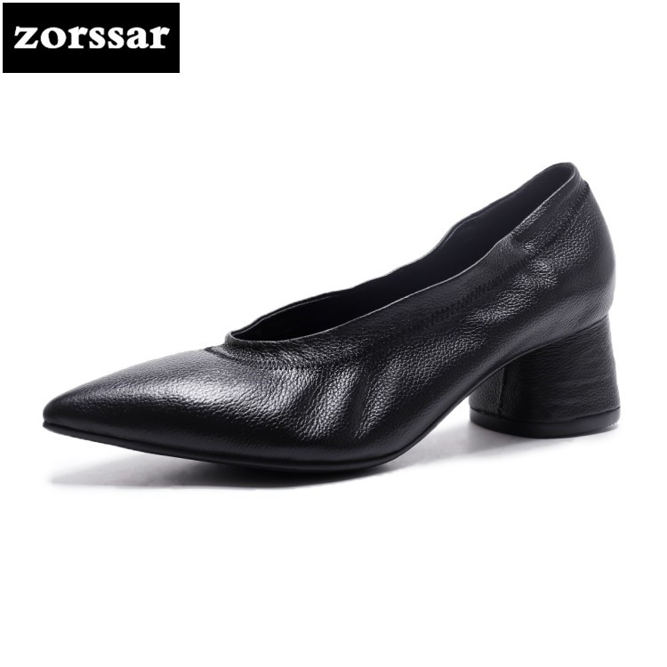 {Zorssar} 2018 New Genuine Leather womens shoes pointed toe High heels pumps Fashion nude thick heel Ladies Party wedding shoes new 2017 spring summer women shoes pointed toe high quality brand fashion womens flats ladies plus size 41 sweet flock t179