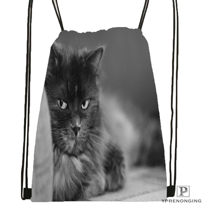 Custom Cat Fluffy Face Black Drawstring Backpack Bag Cute Daypack Kids Satchel (Black Back) 31x40cm#180531-04-43