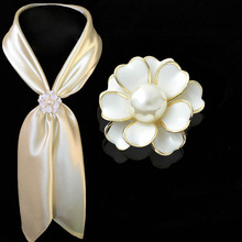 Fashion Women Lady Girl New Popular Charming Flower Pearl Scarf Ring Buckle Brooch Pin