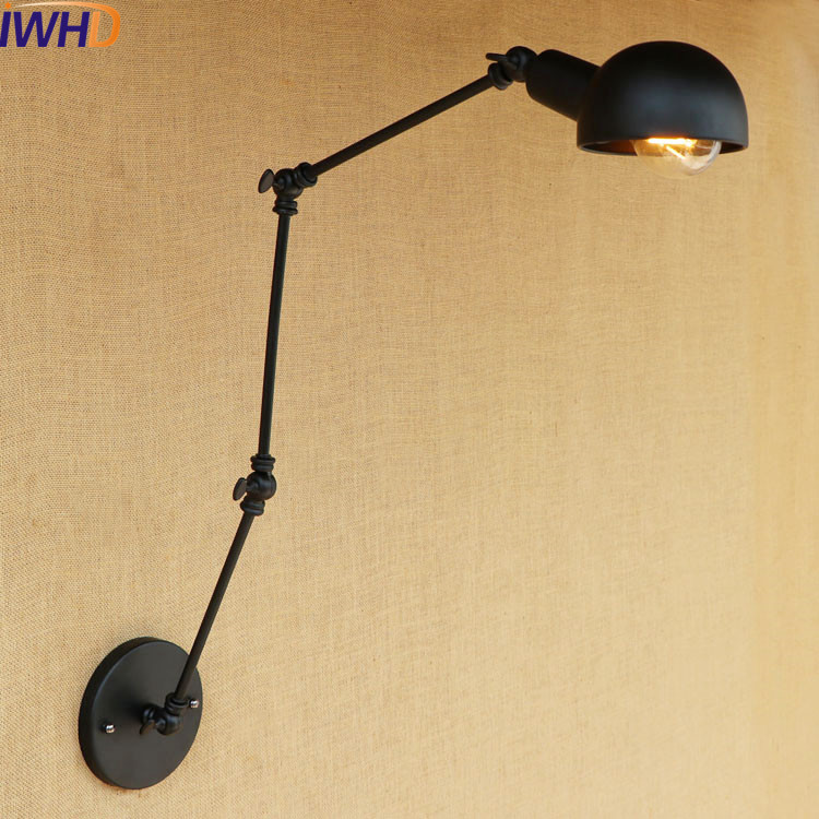 Antique Industrial Wall Lamp Vintage LED Black Shade Long Arm Wall Light Retro Edison Sconce Arandela Lamparas De Pared
