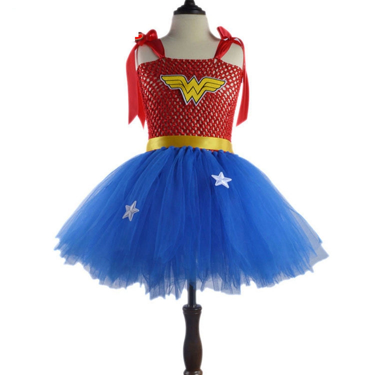 2-9Y Girls Superhero Costumes Kids Superman Wonder Woman Halloween Costume Fancy Dress Super Children Party Cosplay Costumes