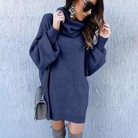 Women Autumn Winter Batwing Sleeve Cowl Neck Oversized Long Jumper Sweater Pullover