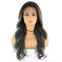 X TRESS Ombre Grey Blonde Color Synthetic Hair Lace Frontal Wigs For Women 20inch Long Wavy Lace Front Hair Wig Middle Free Part
