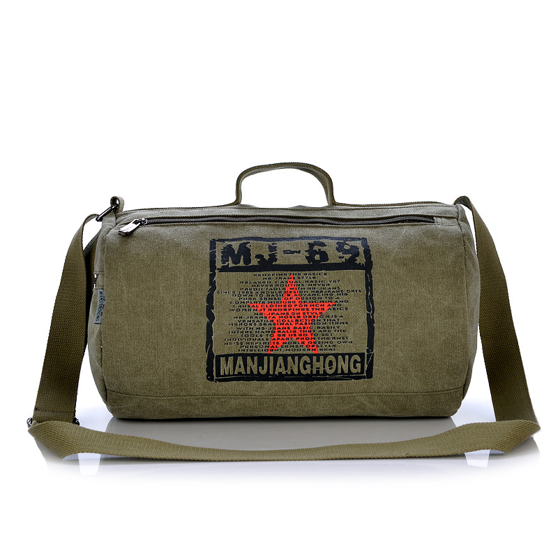 ФОТО barrel shaped bag canvas man handbags Military Vintage messenger bags Travel bag 2017 new free shipping
