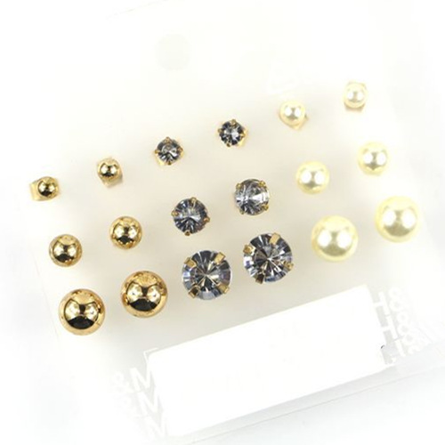Claire Fashion Accessories Stud Earring Pack Set 9 Pairs Pearl Cubic Zircon Crystal Sutd 5 12mm Gift For Women Broncos In Earrings From Jewelry