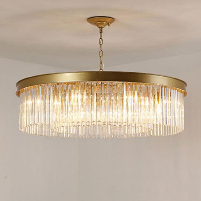Round Crystal Pendant Lights Hanging Light LED Crystal Living Room Lamp Sitting Retro Dining Pendant Lights
