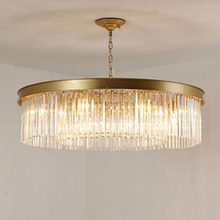 Round Crystal Pendant Lights Hanging Light LED Crystal Living Room Lamp Sitting Retro Dining Pendant Lights