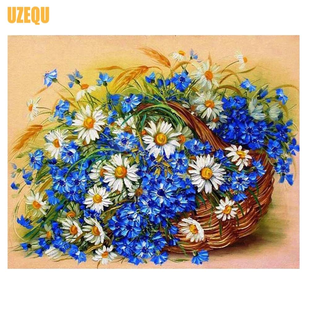 UzeQu, Completo, Bordado de diamantes, Flor de la margarita, Cesta, - Artes, artesanía y costura - foto 1
