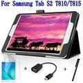 De calidad superior elegante de la pu cubierta de cuero para samsung galaxy tab s2 9.7 t810 t813 t815 t819 tablet case + free screen protector + otg + pluma