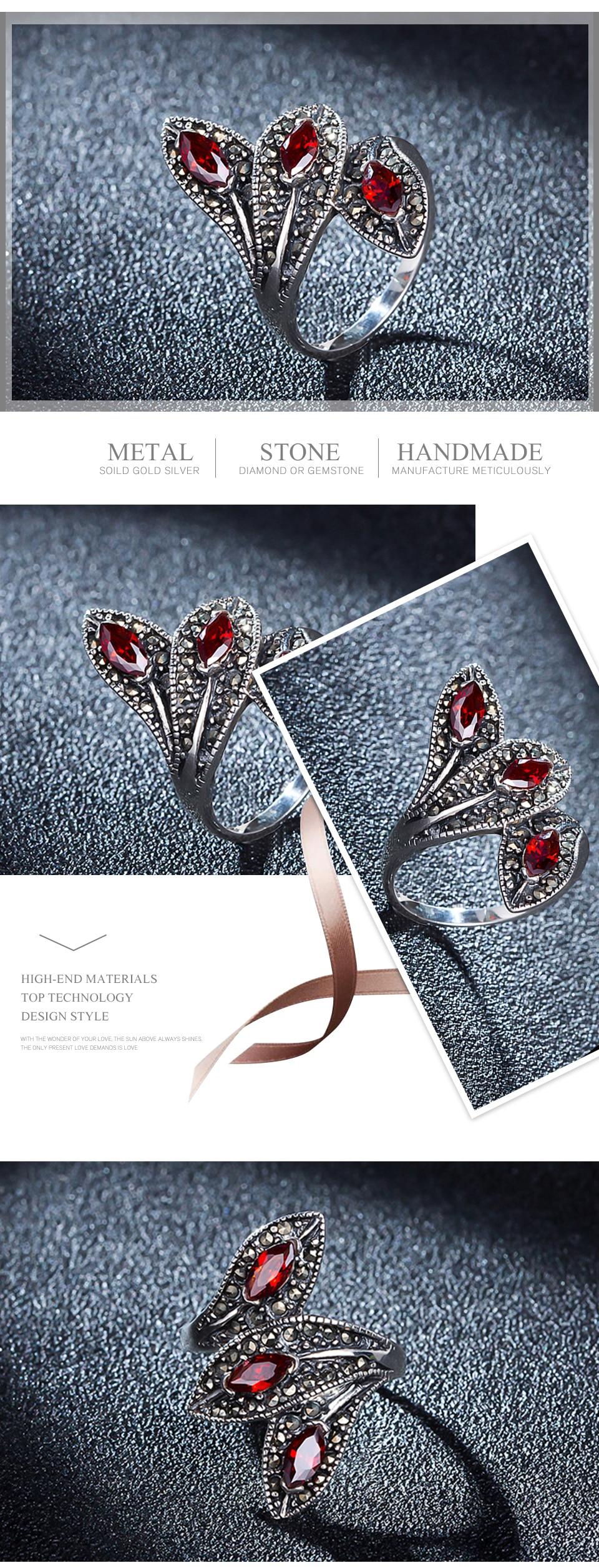 Vintage Garnet with 925 Sterling Silver Unique Leaf Shape Ring for Women
